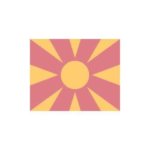 北マケドニア 国旗 カラーアイコン フリー素材