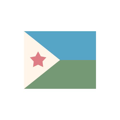 ジブチ 国旗 カラーアイコン フリー素材