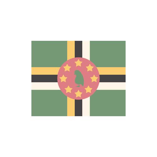 ドミニカ国 国旗 カラーアイコン フリー素材
