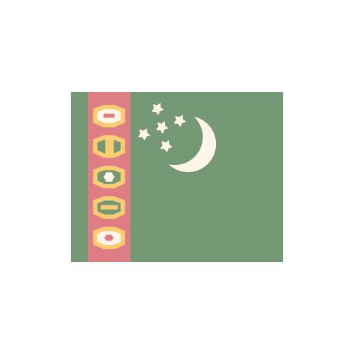 トルクメニスタン 国旗 カラーアイコン フリー素材