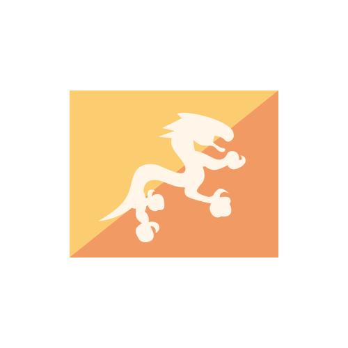 ブータン 国旗 カラーアイコン フリー素材